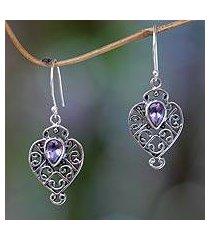 amethyst dangle earrings, 'hibiscus dew' (indonesia)