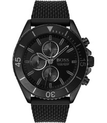 boss men's chronograph ocean edition black stainless steel mesh bracelet watch 46mm