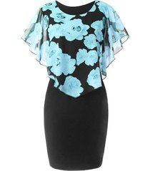 floral overlay chiffon panel plus size bodycon dress