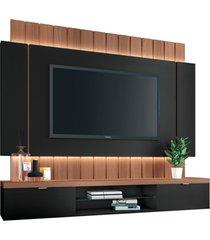 painel home suspenso para tv atã© 55 sala de estar shawn preto/nature - gran belo - preto - dafiti
