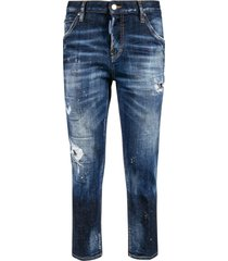 dsquared2 destroyed effect cropped jeans