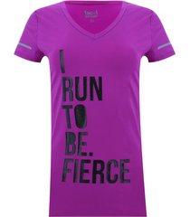 camiseta cuello v i run to be color morado, talla xs