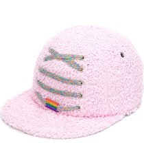 maison michel lace-up detail textured cap - pink