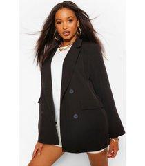 woven tailored oversized pocket blazer, black