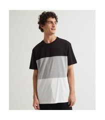 camiseta manga curta lisa com recortes   blue steel   preto   p