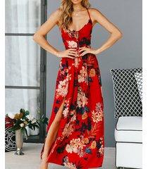 vestido de playa sin espalda de verano vestidos casual para dama - rojo