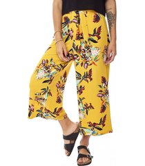 pantalón culotte lazo i mujer amarillo hojas corona