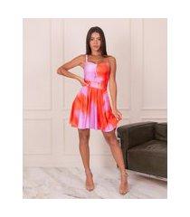 vestido miss misses rodado com tie dye rosa e laranja