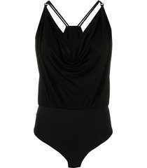 elisabetta franchi cowl-neck bodysuit - black