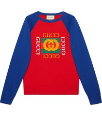 gucci cotton jersey sweatshirt with gucci logo - red