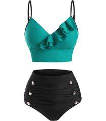 colorblock mock button ruffle tummy control bikini swimwear