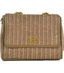 ermanno scervino brown woven fabric gloria small flap shoulder bag