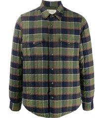 aspesi check print quilted shirt jacket - green