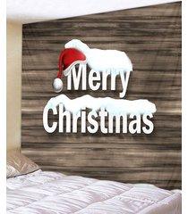 christmas hat greetings wood grain print tapestry wall hanging art decoration