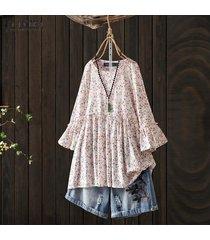 zanzea para mujer de la llamarada de la manga del cuello de o impreso floral tops camisas ocasionales flojas de la blusa -rosado
