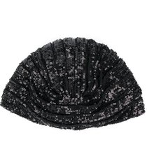 saint laurent sequin-embellished beanie - black