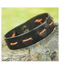 men's leather bracelet, 'run along in black and tan' (ghana)