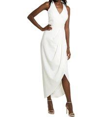 women's xscape tulip hem sleeveless crepe gown, size 10 - ivory