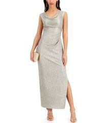 connected petite cowlneck metallic gown