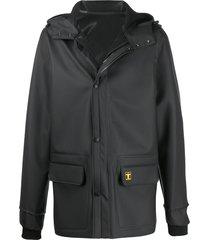 paco rabanne loose-fit logo hooded jacket - black