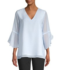 gingham ruffled blouse
