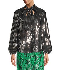 moss stripe sequin peasant blouse