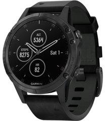 garmin unisex fenix 5 plus black leather strap smart watch 47mm