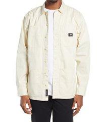 men's vans bayview cotton shirt jacket, size medium - ivory