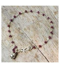 garnet flower bracelet, 'red rose horizon' (thailand)
