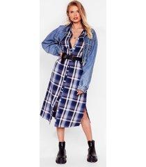 womens background check midi shirt dress - blue