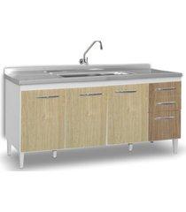 balcão gabinete de pia áustria 160cm 04 portas 02 gavetas branco/carvalho/castanho lumil móveis
