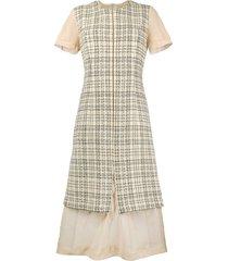 comme des garçons pre-owned 1997 deconstructed plaid dress - neutrals