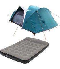 barraca camping nautika laredo até 9 pessoas + 2 colchões solteiro inflável star twin