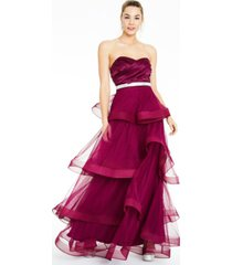 say yes to the prom juniors' rhinestone-waist tiered gown, created for macy's