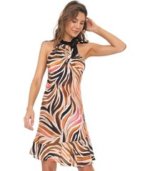 vestido dimy curto estampado bege/marrom - kanui