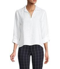 saks fifth avenue women's long-sleeve linen shirt - natural - size s