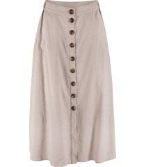 gonna lunga in misto lino con bottoni (grigio) - bpc bonprix collection