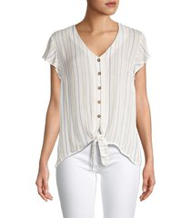 for the republic women's striped self-tie top - stripe - size l