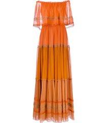alberta ferretti off-the-shoulder dress - orange