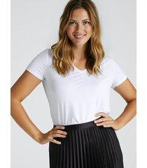 kortärmad t-shirt med v-ringning - vit