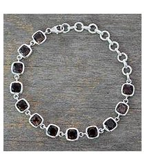 smokey quartz link bracelet, 'dusk whisper' (india)