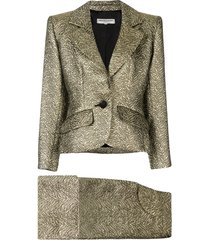 yves saint laurent pre-owned nervure embroidered skirt suit - metallic