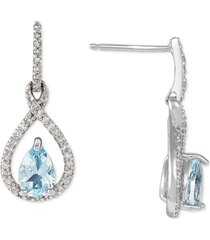 aquamarine (5/8 ct. t.w.) & diamond (1/5 ct. t.w.) drop earrings in 14k white gold