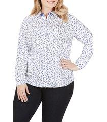 plus size women's foxcroft ava bye bye birdie cotton sateen shirt