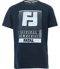 camiseta fatal lettering azul-marinho