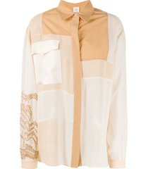 alysi patchwork long-sleeve shirt - neutrals