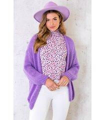 oversized knitted vest purple