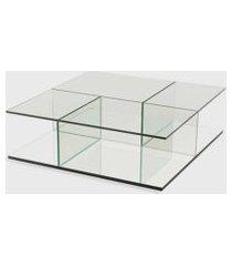 mesa de centro bauhaus 100x100x32h base espelho prata vidrotec