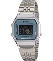 reloj casio retro digital la-680wa-2b plata
