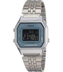 reloj casio retro digital la-680wa-2b plata